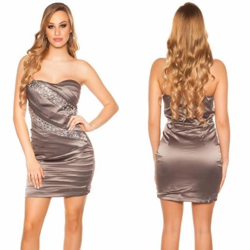 Vestido de fiesta sedoso gris y brillo