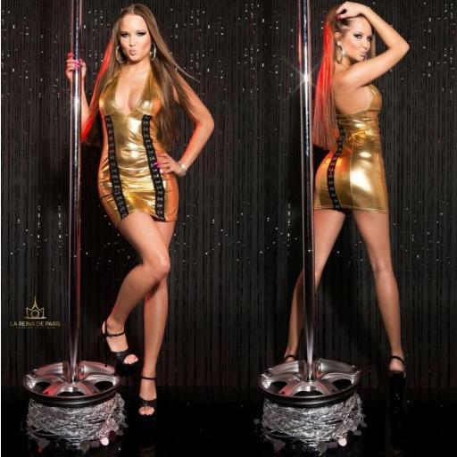 Vestido gold con cierre de gancho