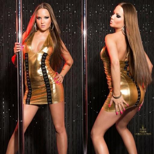Vestido gold con cierre de gancho [2]