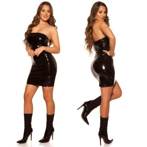Vestido ajustado bandeau negro [2]