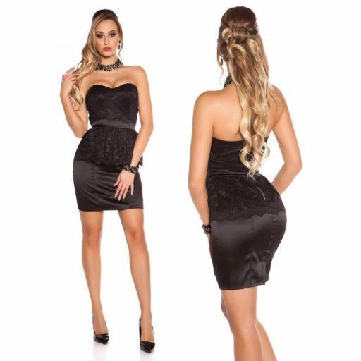 Vestido con encaje péplum negro [1]