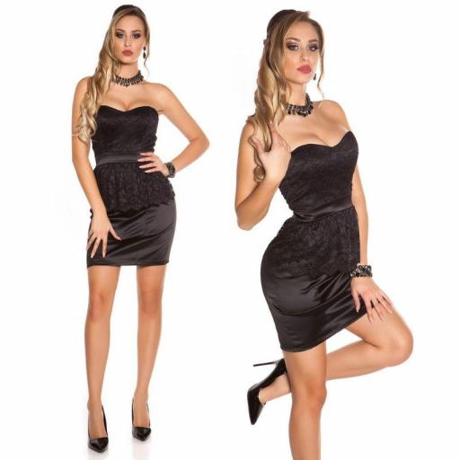 Vestido con encaje péplum negro [2]