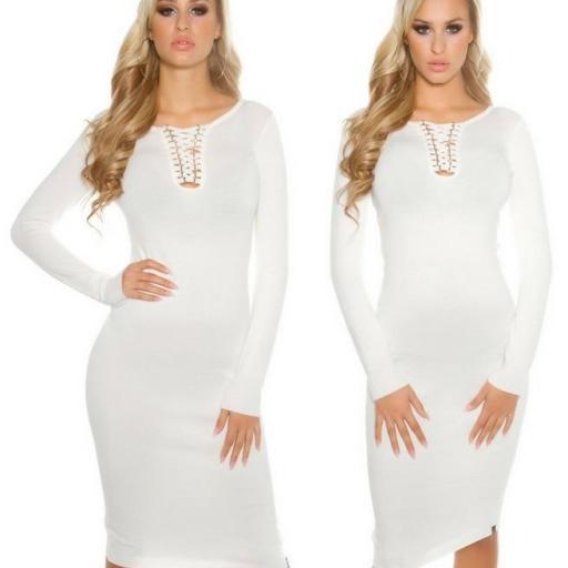 Vestido de punto blanco a media pierna [1]