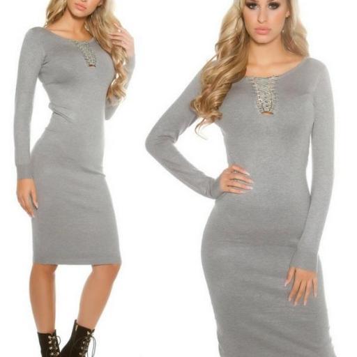 Vestido de punto gris a media pierna [2]