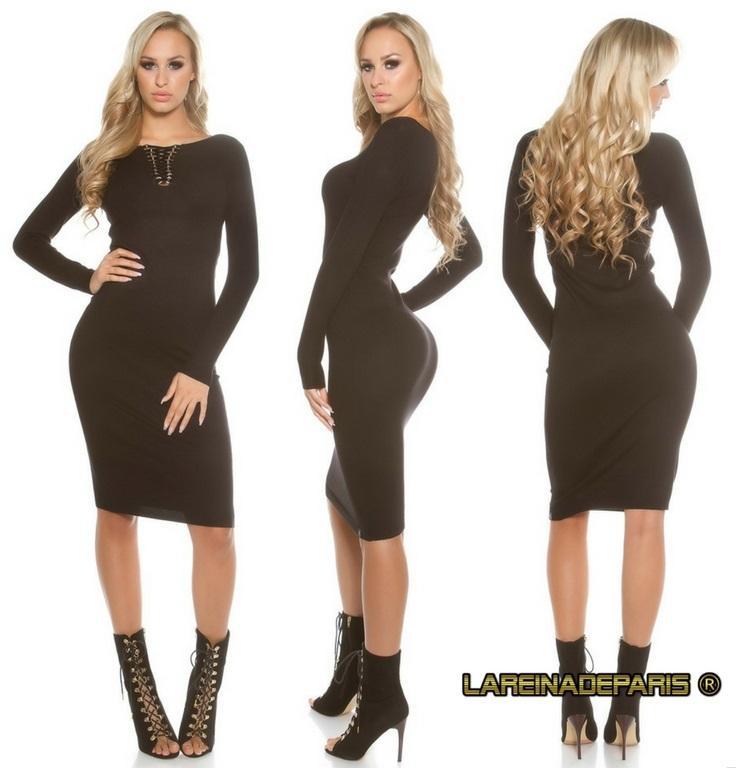 Vestido de punto negro a media pierna