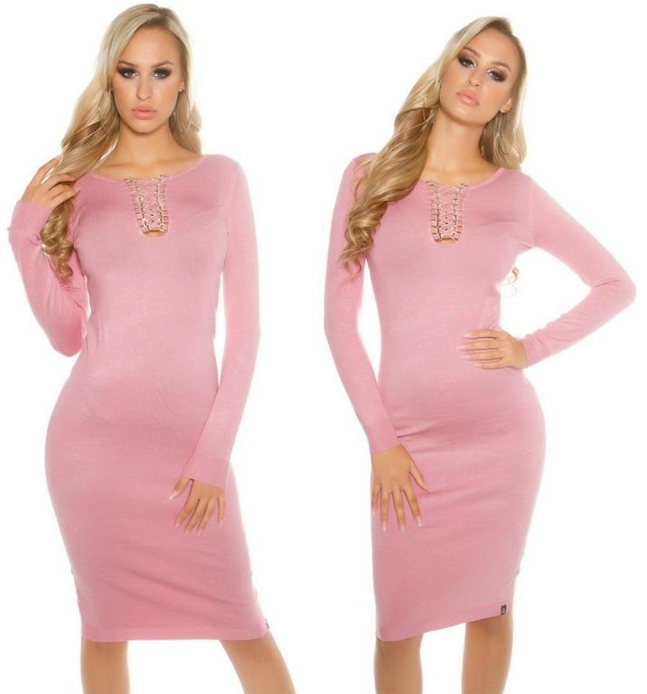Vestido de punto rosa a media pierna
