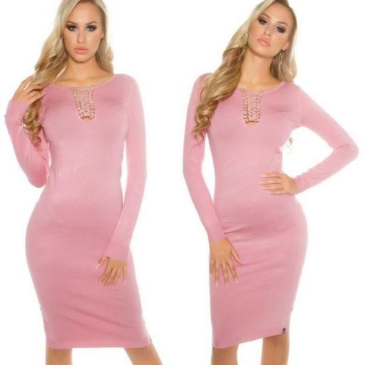 Vestido de punto rosa a media pierna [0]