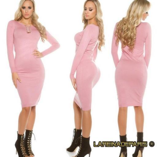 Vestido de punto rosa a media pierna [1]