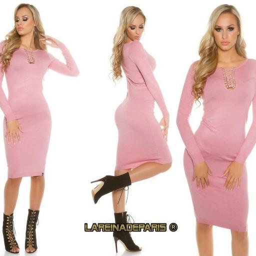 Vestido de punto rosa a media pierna [2]