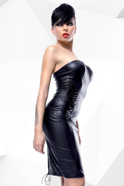 Vestido negro de PVC brillante