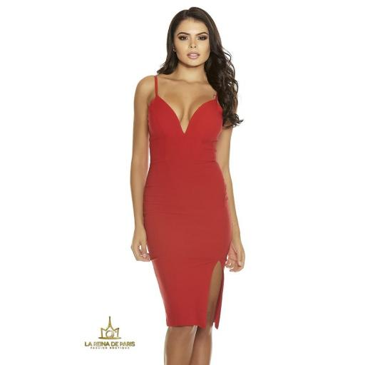 Vestido rojo con abertura sexy [1]
