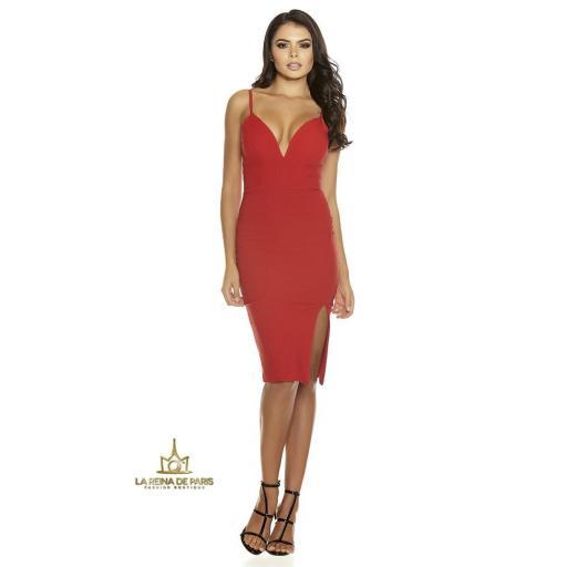 Vestido rojo con abertura sexy [3]