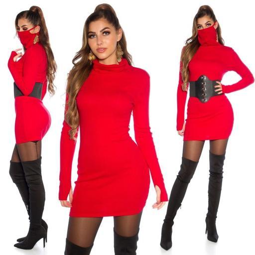Vestido corto con mascarilla rojo