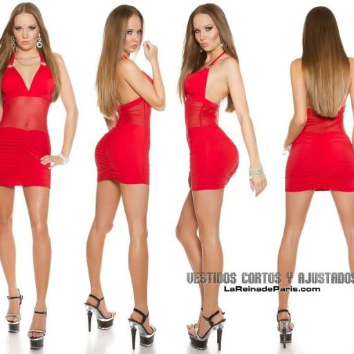 Vestido ajustado rojo transparencias