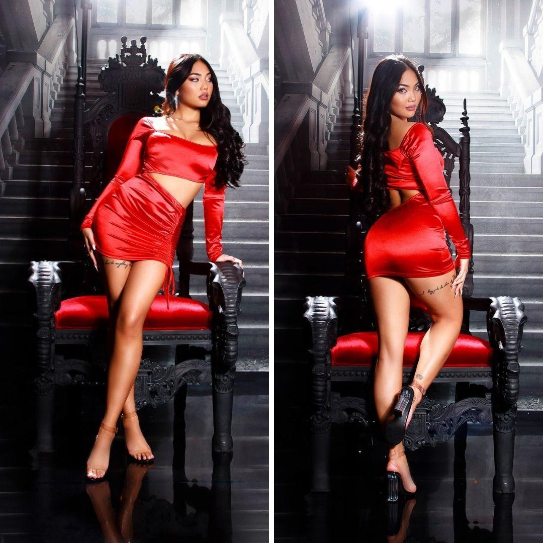 Vestido de fiesta sexy brillante rojo