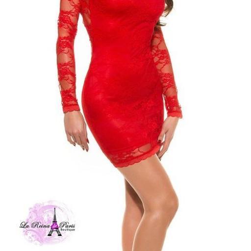 Vestido rojo ajustado encaje glamour [2]