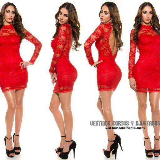 Vestido rojo ajustado encaje glamour [1]