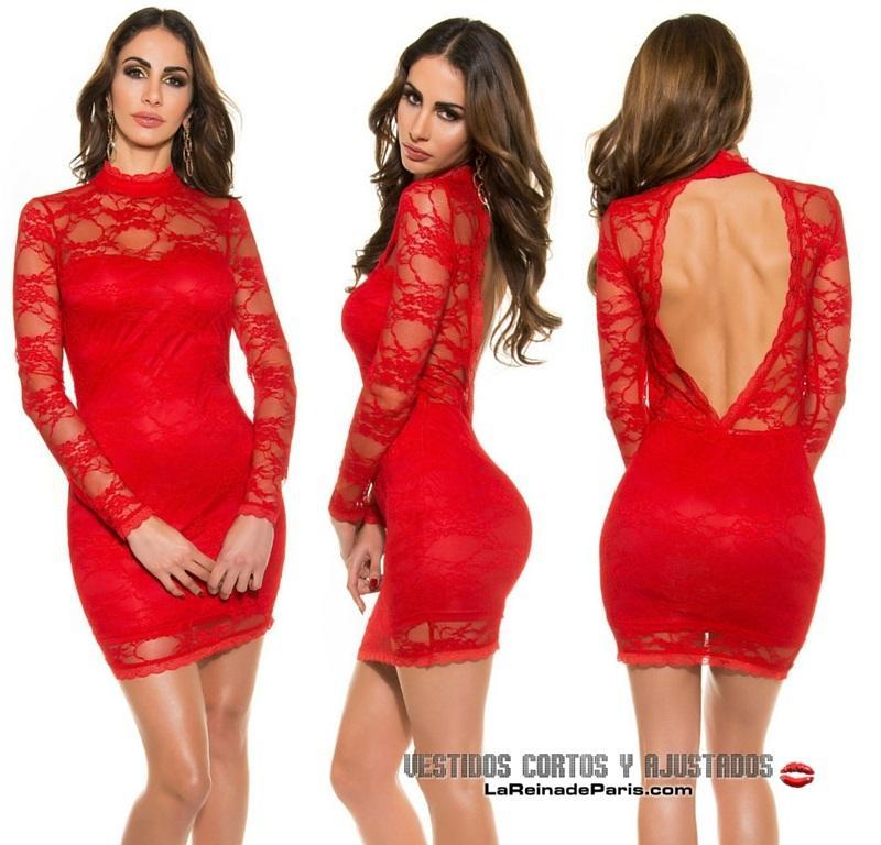 Vestido rojo ajustado encaje glamour