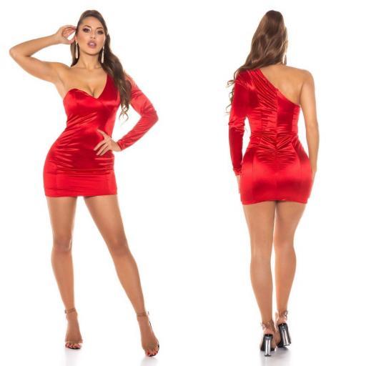 Vestido rojo satinado de moda  [1]