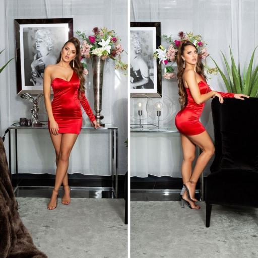 Vestido rojo satinado de moda  [2]