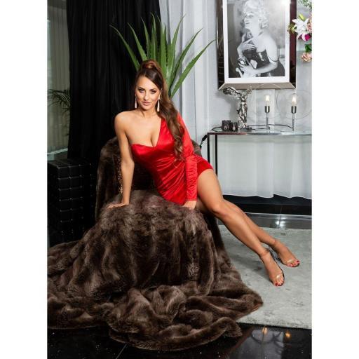 Vestido rojo satinado de moda  [3]