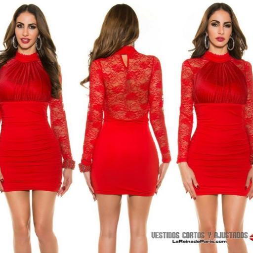 Vestido rojo de fiesta ajustado encaje