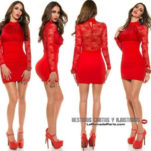 Vestido rojo de fiesta ajustado encaje [2]
