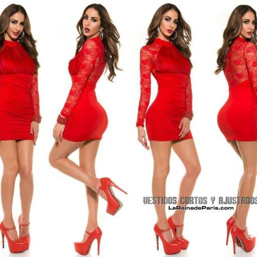 Vestido rojo de fiesta ajustado encaje [3]