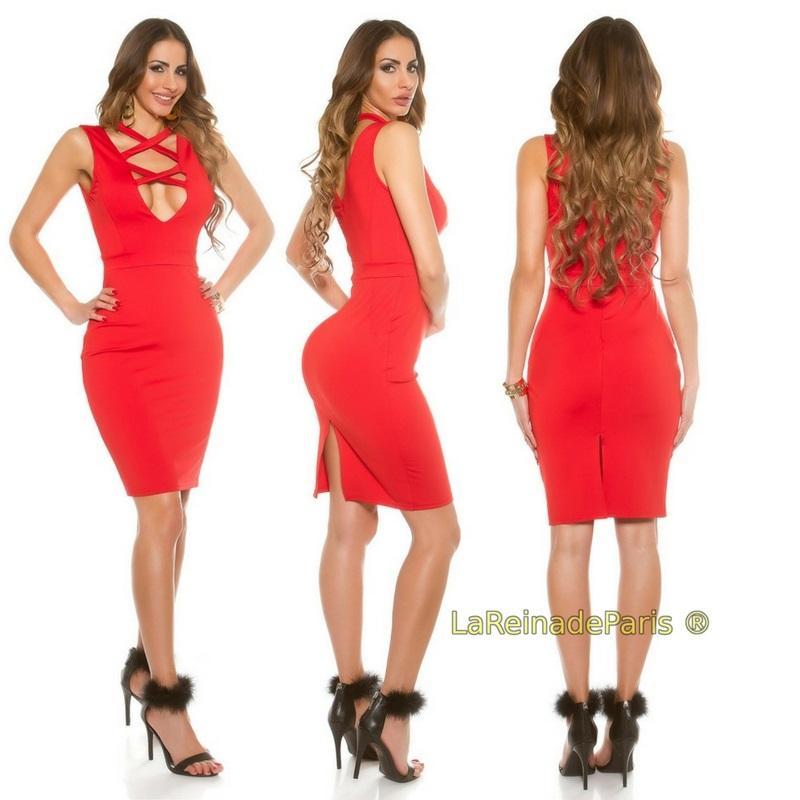 Vestido rojo de moda escote atractivo