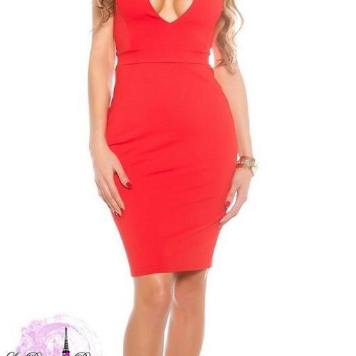 Vestido rojo de moda escote atractivo  [3]