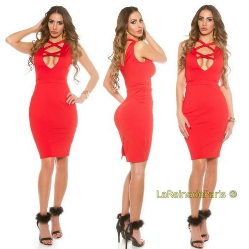 Vestido rojo de moda escote atractivo  [1]