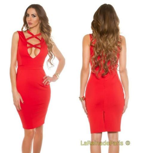 Vestido rojo de moda escote atractivo  [2]