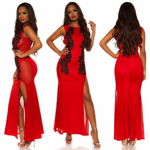 Vestido rojo de espalda sexy [1]