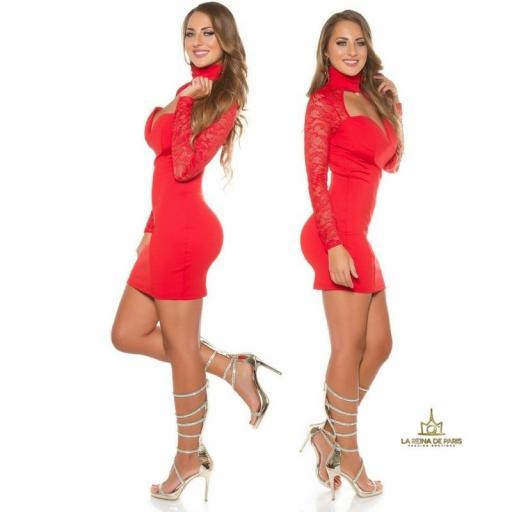 Vestido rojo de manga larga con encaje [2]