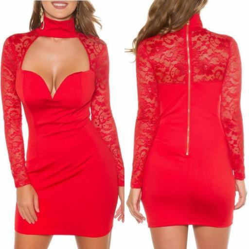 Vestido rojo de manga larga con encaje [3]