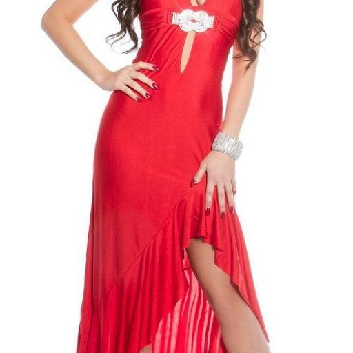 Vestido largo de noche rojo elegante [1]
