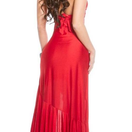 Vestido largo de noche rojo elegante [2]
