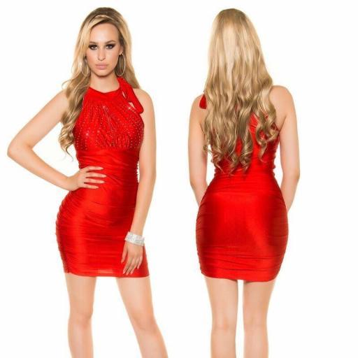Vestido estampado de diamantes rojo