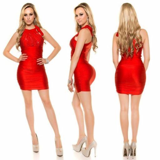 Vestido estampado de diamantes rojo [1]