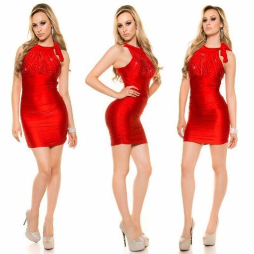 Vestido estampado de diamantes rojo [2]