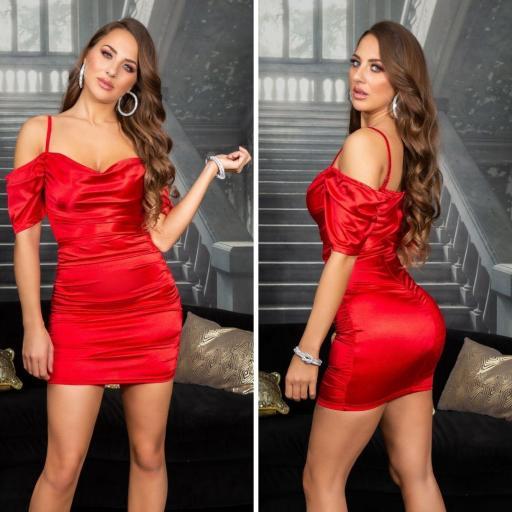 Vestido corto de fiesta rojo satinado