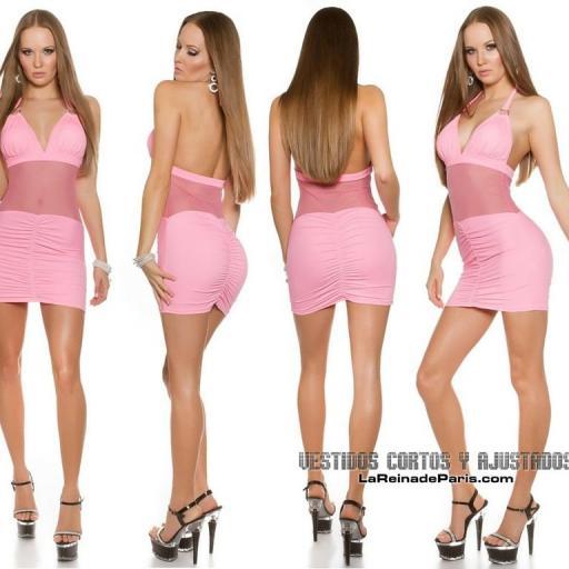 Mini vestido ajustado con transparencias [1]