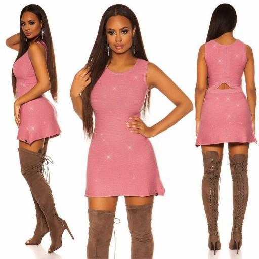 Vestido skater de punto rosa