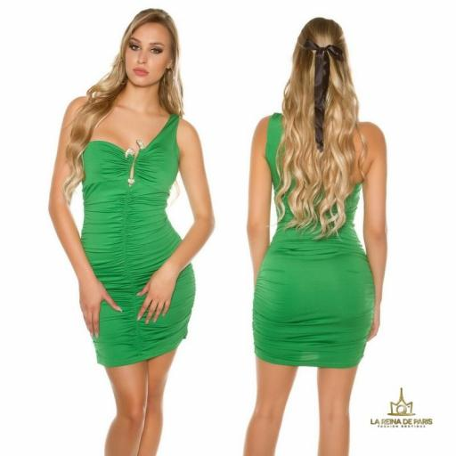 Vestido verde de un solo hombro  [0]