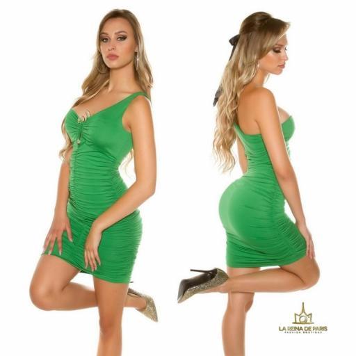 Vestido verde de un solo hombro  [1]