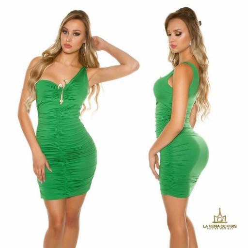 Vestido verde de un solo hombro  [2]