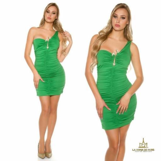 Vestido verde de un solo hombro  [3]