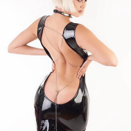 Vestido vinilo brillante negro  [1]