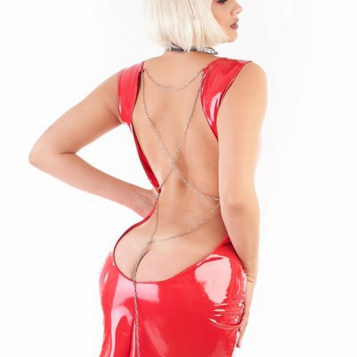 Vestido vinilo brillante rojo [1]