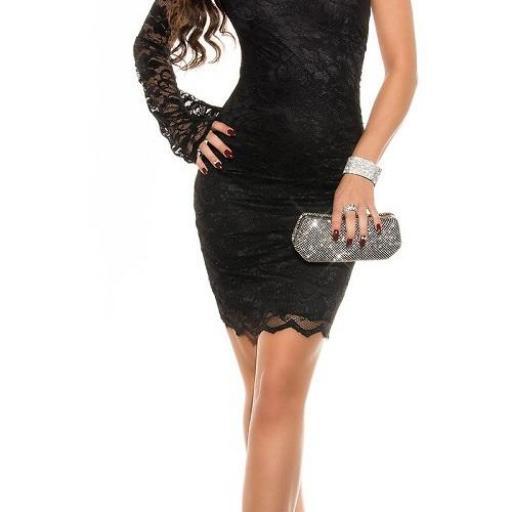Vestido de fiesta entallado encaje negro